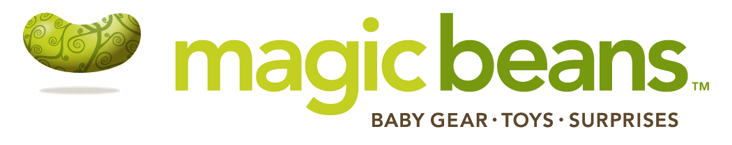 Logo for Magic Beans, reads Magic Beans | Baby Gear | Toys | Surprises