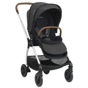 Black Nuna TRIV with brown leather handles, set against a white background.
