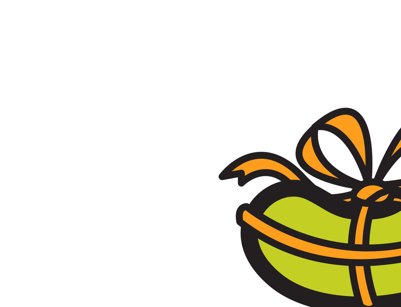 Magic Beans Moola Image - a graphic illustration of a green bean wrapped in an orange ribbon