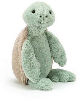 Smiling green turtle stuffed animal
