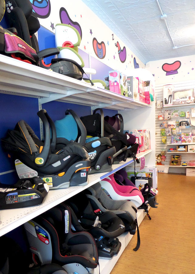Magic Beans store interior, featuring shelves of car seats