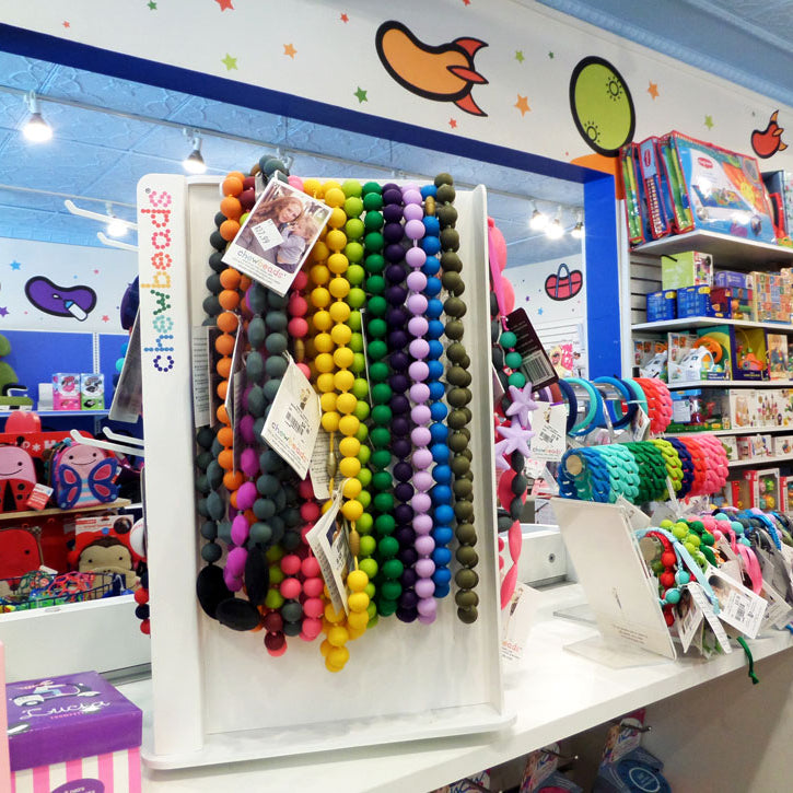 Magic Beans store interior, featuring racks of teething toys