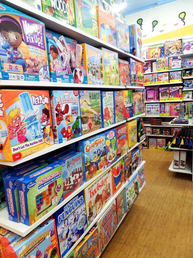 Magic Beans store interior, featuring shelves of toys