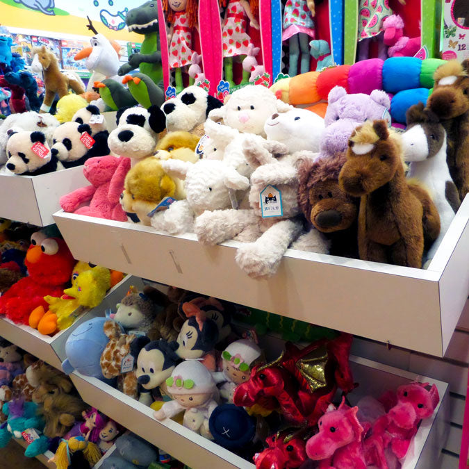 Magic Beans store interior, featuring shelves of stuffed animals