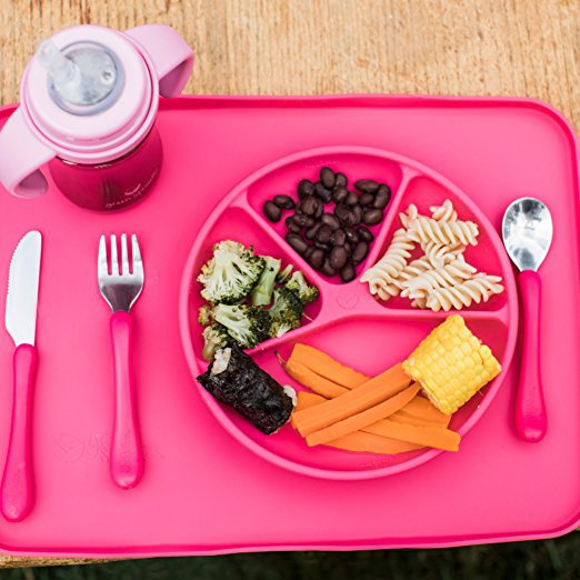 Green Sprouts Learning Plate - Pink