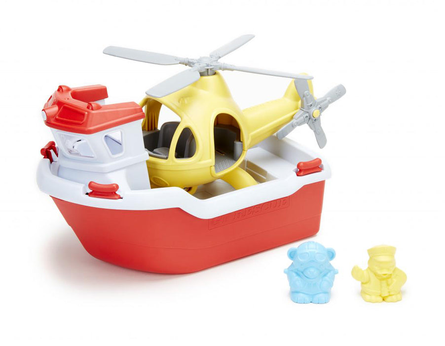 Green Toys - Rescue Boat With Helicopter