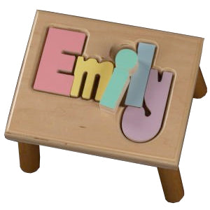Name Stool in Natural with Pastel Letters