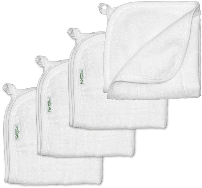 I Play Organic Muslin Washcloths White - 4 Pack