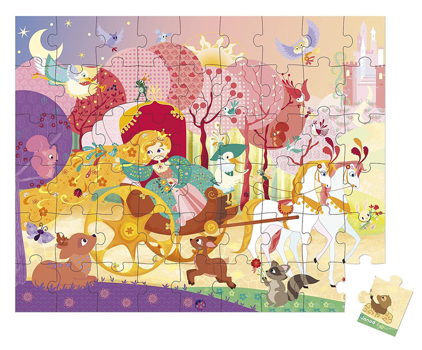 Janod Hat Box Puzzle Princess & the Coach - 54 pc