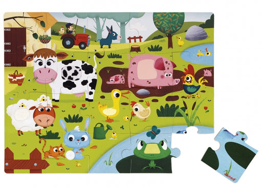 Janod Tactile Puzzle - Farm Animals - 20 Pieces