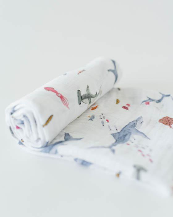 Little Unicorn Cotton Muslin Single Swaddle Shark