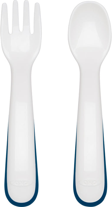 Oxo Tot On-The-Go Fork + Spoon Set - Navy