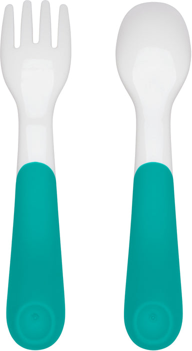 Oxo Tot On-The-Go Fork + Spoon Set - Teal