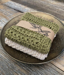 Cotton Face Cloths - Olive & Stone