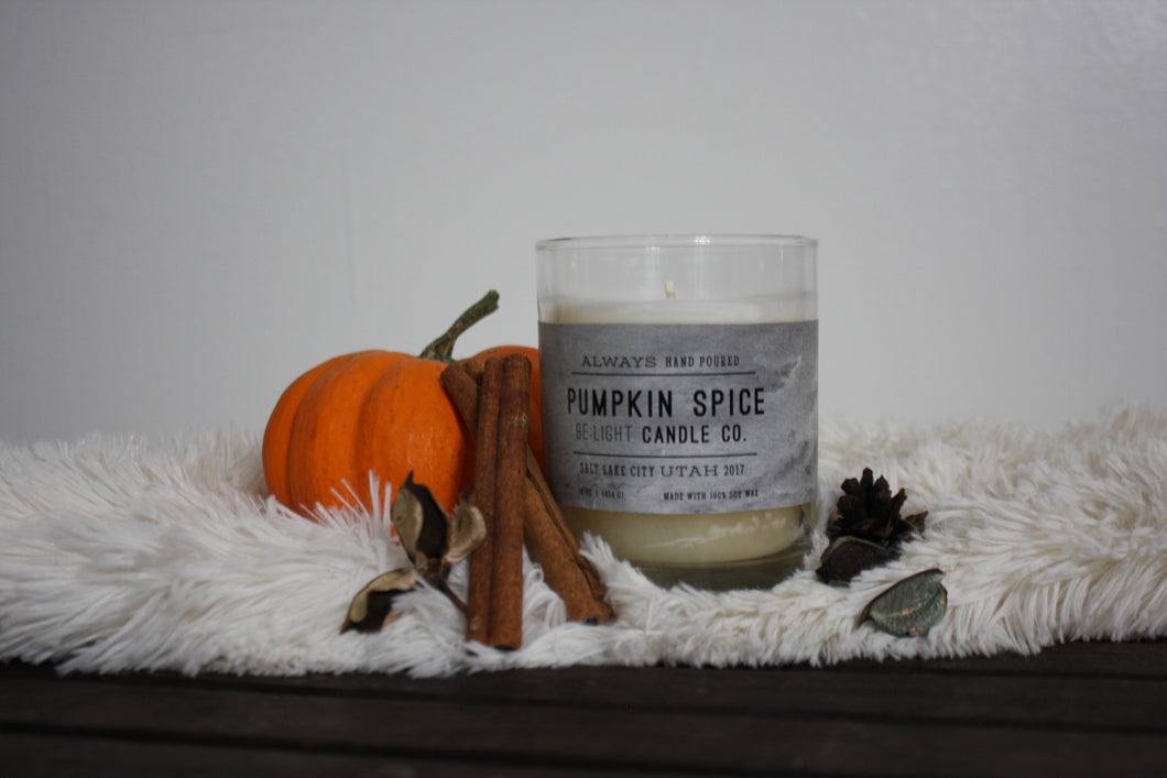 Pumpkin Spice'd Scented Soy Candle | 100% Non GMO Soy Wax/Repurposed Glass/Natural, Non Toxic Oils | Hand Poured in Salt Lake City, UT | 15% of every sales goes towards suicide prevention #candles4acause