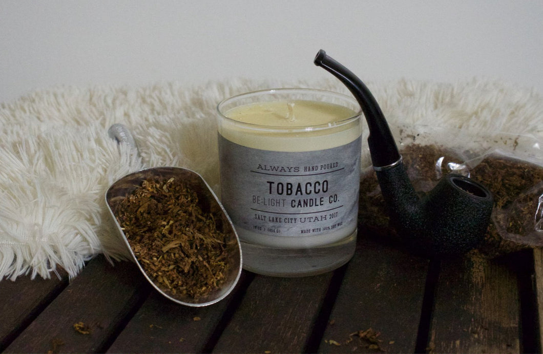 Pipe Tobacco Scented Soy Candle | 100% Non GMO Soy Wax/Repurposed Glass/Natural, Non Toxic Oils | Hand Poured in Salt Lake City, UT | 15% of every sales goes towards suicide prevention #candles4acause