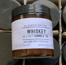 Load image into Gallery viewer, Whiskey on the Rocks Scented Soy Candle | 100% Non GMO Soy Wax/Repurposed Glass/Natural, Non Toxic Oils | Hand Poured in Salt Lake City, UT | 15% of every sales goes towards suicide prevention #candles4acause