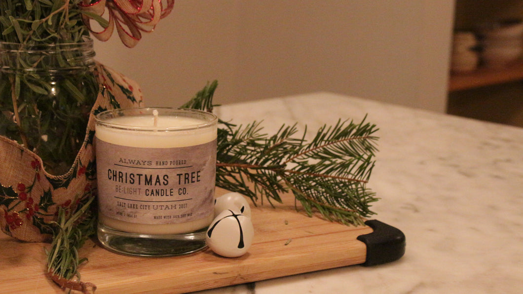 Christmas Tree Scented Soy Candle | 100% Non GMO Soy Wax/Repurposed Glass/Natural, Non Toxic Oils | Hand Poured in Salt Lake City, UT | 15% of every sales goes towards suicide prevention #candles4acause