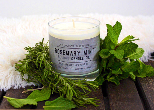 Rosemary Mint Scented Soy Candle | 100% Non GMO Soy Wax/Repurposed Glass/Natural, Non Toxic Oils | Hand Poured in Salt Lake City, UT | 15% of every sales goes towards suicide prevention #candles4acause