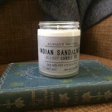Load image into Gallery viewer, Indian Sandalwood Scented Soy Candle | 100% Non GMO Soy Wax/Repurposed Glass/Natural, Non Toxic Oils | Hand Poured in Salt Lake City, UT | 15% of every sales goes towards suicide prevention #candles4acause