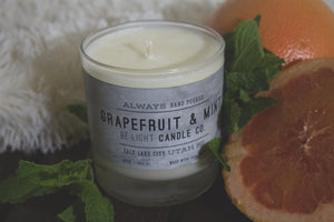 Grapefruit & Mint Candle   |  100% Soy Wax  |  Non-Toxic Oils  |  15% Goes toward suicide prevention