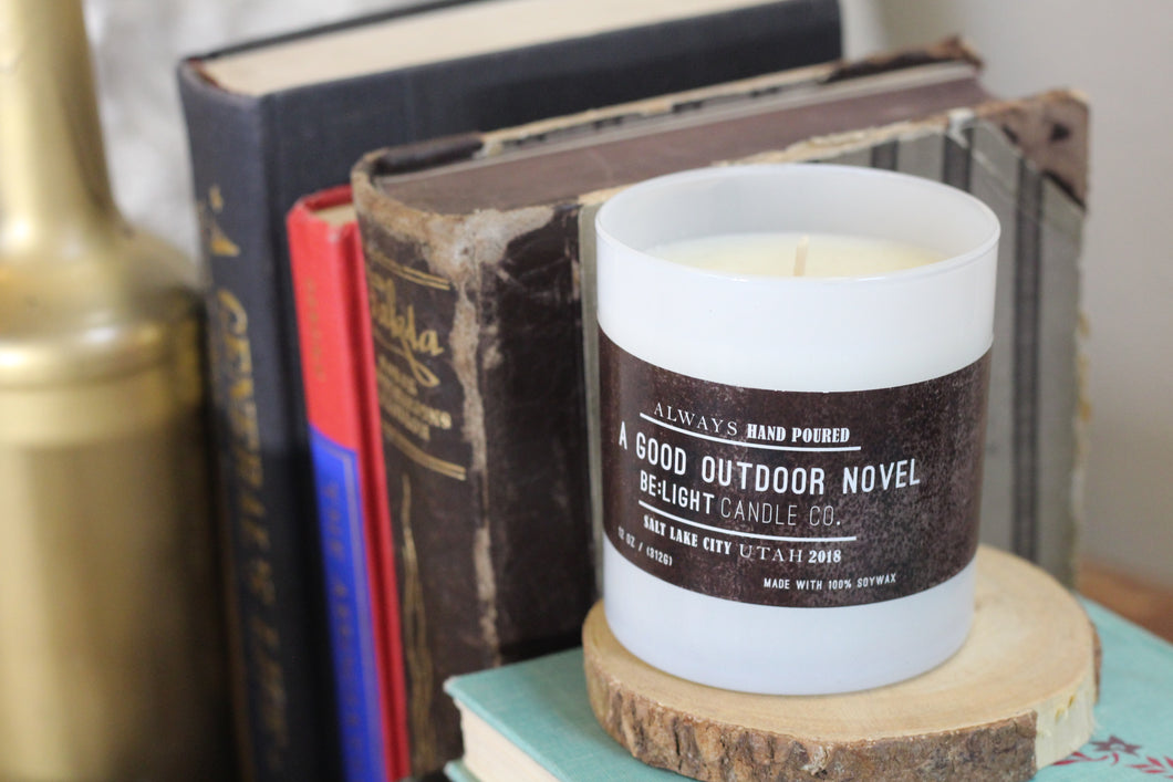 A Good Outdoor Novel Scented Soy Candle | 100% Non GMO Soy Wax/Repurposed Glass/Natural, Non Toxic Oils | Hand Poured in Salt Lake City, UT | 15% of every sales goes towards suicide prevention #candles4acause