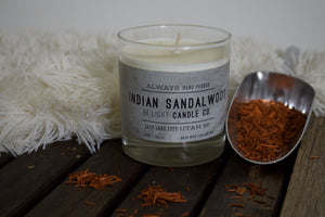 Indian Sandalwood Scented Soy Candle | 100% Non GMO Soy Wax/Repurposed Glass/Natural, Non Toxic Oils | Hand Poured in Salt Lake City, UT | 15% of every sales goes towards suicide prevention #candles4acause
