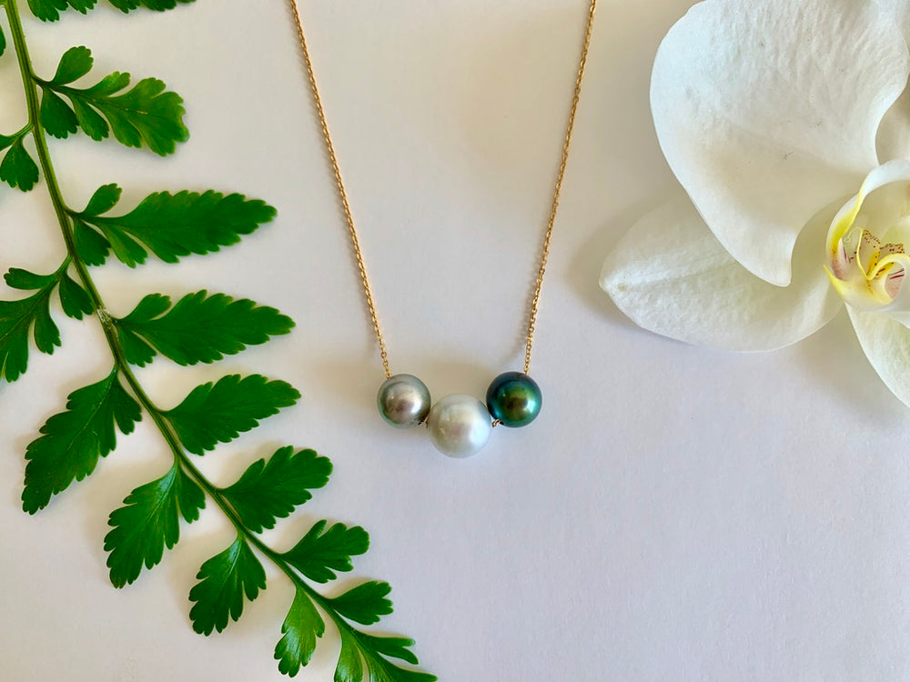 Floating Pearl Necklace - Tahitian + Australian South Sea 3 pearl mixed