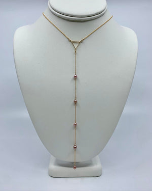 "Load image into Gallery viewer, Pink Edison Keshi Pearl Lariat - the ""Dama"""