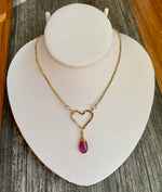 Ruby + Rose Quartz Heart Necklace