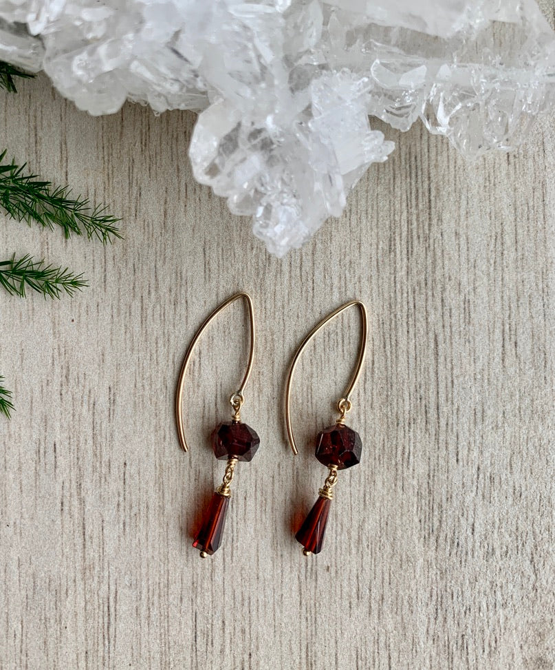 Garnet Earrings - 2 stone