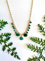 Emerald Dangle Short Necklace - 13 stone mixed