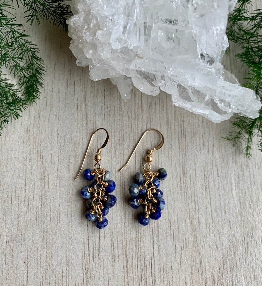 Load image into Gallery viewer, Lapis Lazuli Grape Earrings