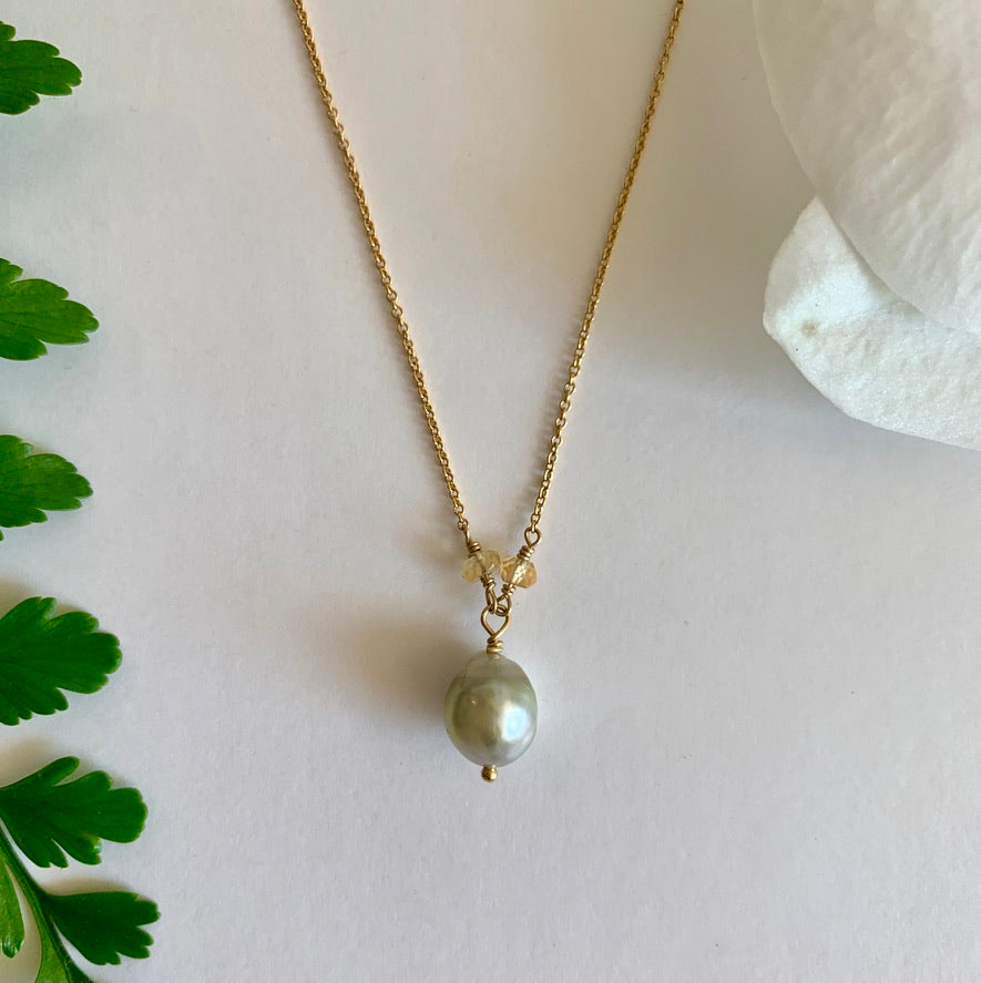 Tahitian Keshi Pearl + Citrine Necklace