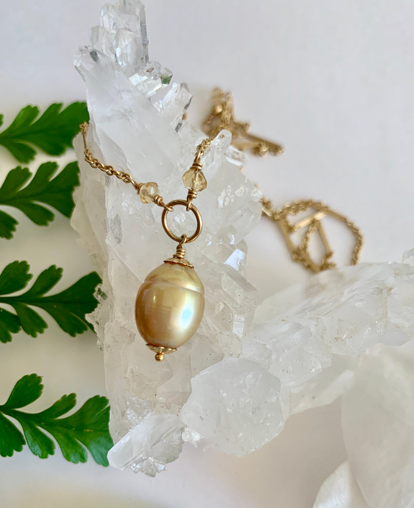 Golden South Sea Pearl + Citrine Necklace