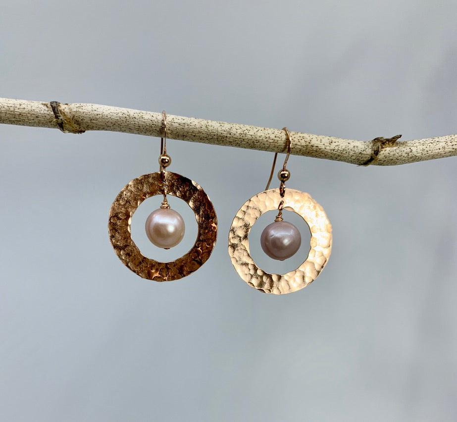Saturn Earrings - Pink Edison Pearl & Rose Gold