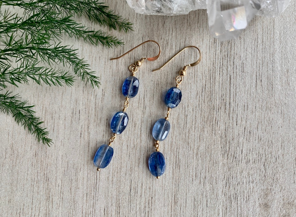 Kyanite Earrings - 3 stone