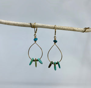 Turquoise Fan Earrings