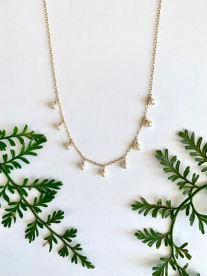 Freshwater White Pearl Dangle Short Necklace - 9 pearl