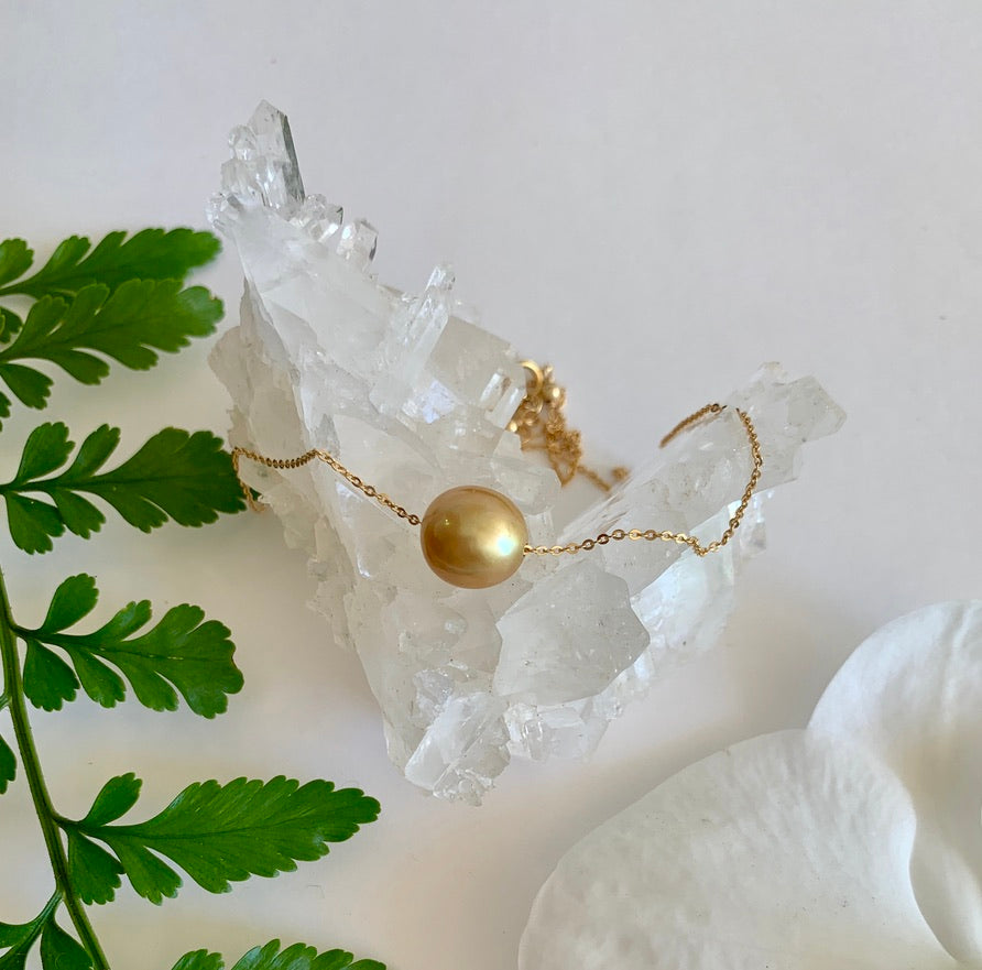 Floating Pearl Necklace - Golden South Sea single pearl