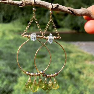 Mighty Aphrodite Earrings - Sphene with Herkimer Diamond - Water Element Creations