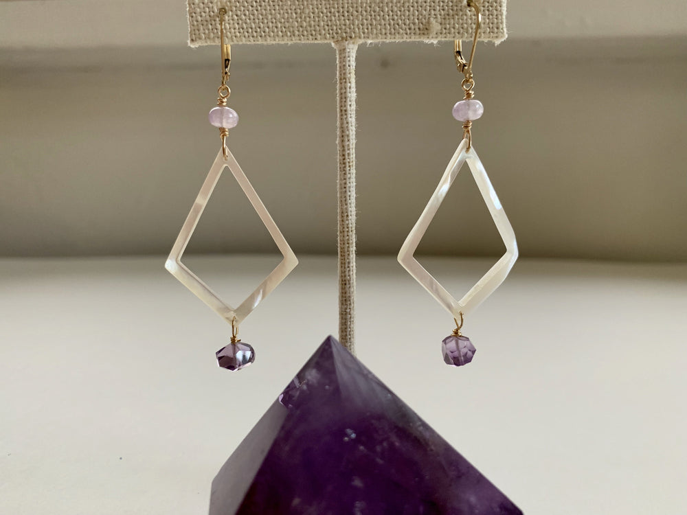 Amethyst + Mother of Pearl Diamond Shape Earrings