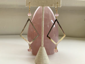 Rose Quartz and Mother of Pearl Diamond Shape Earrings