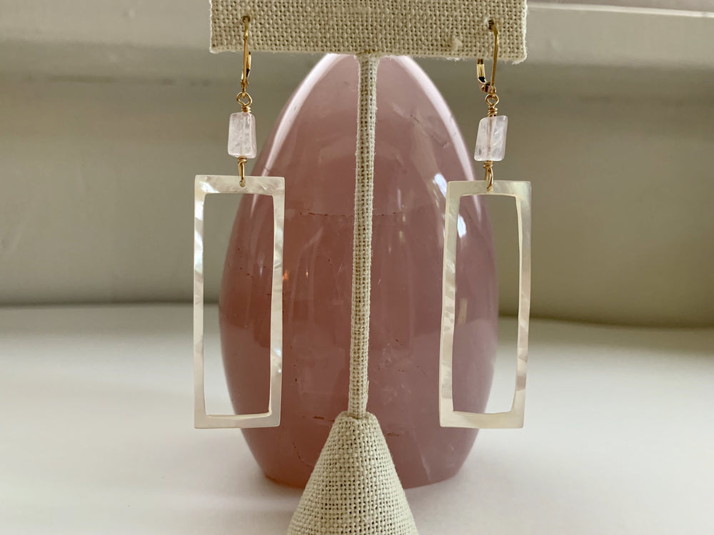 Rose Quartz and Mother of Pearl Long Rectangle Earrings