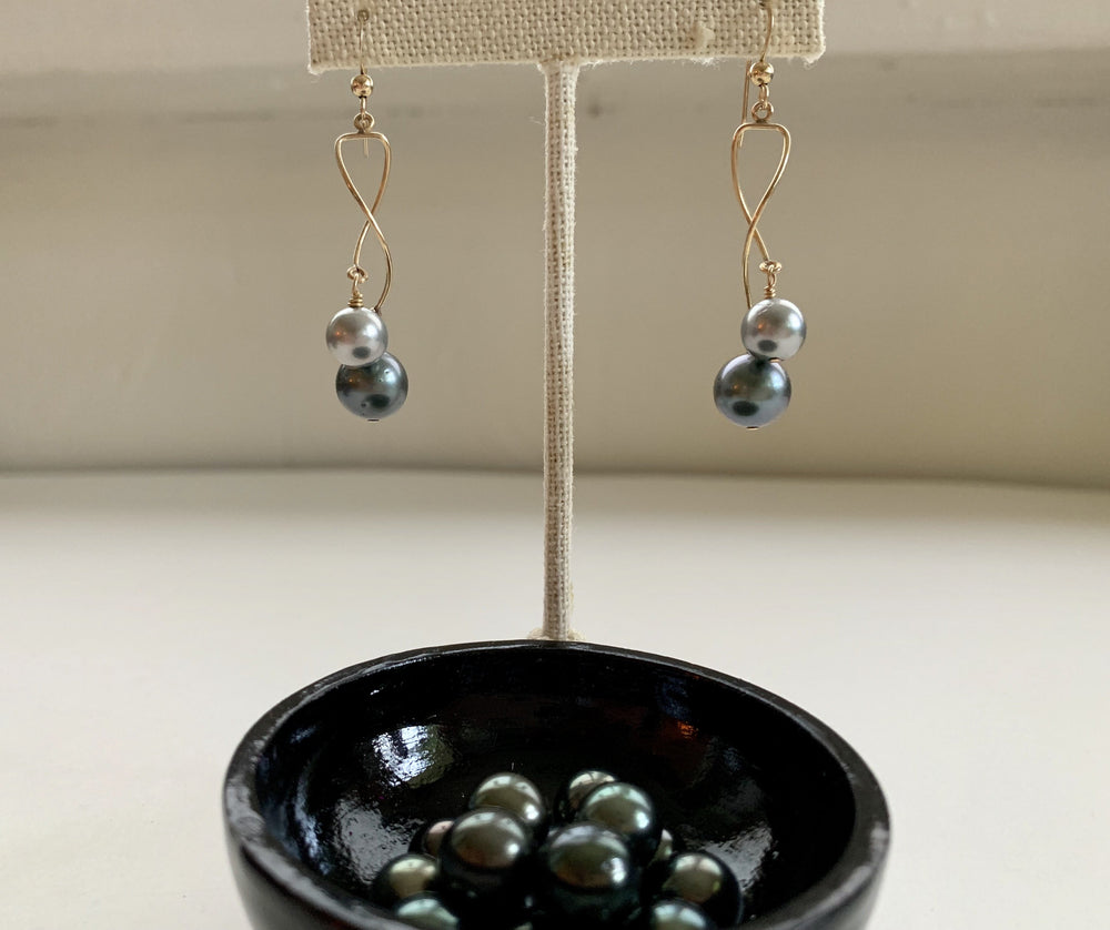Tahitian Pearl Twist and Twirl Earrings