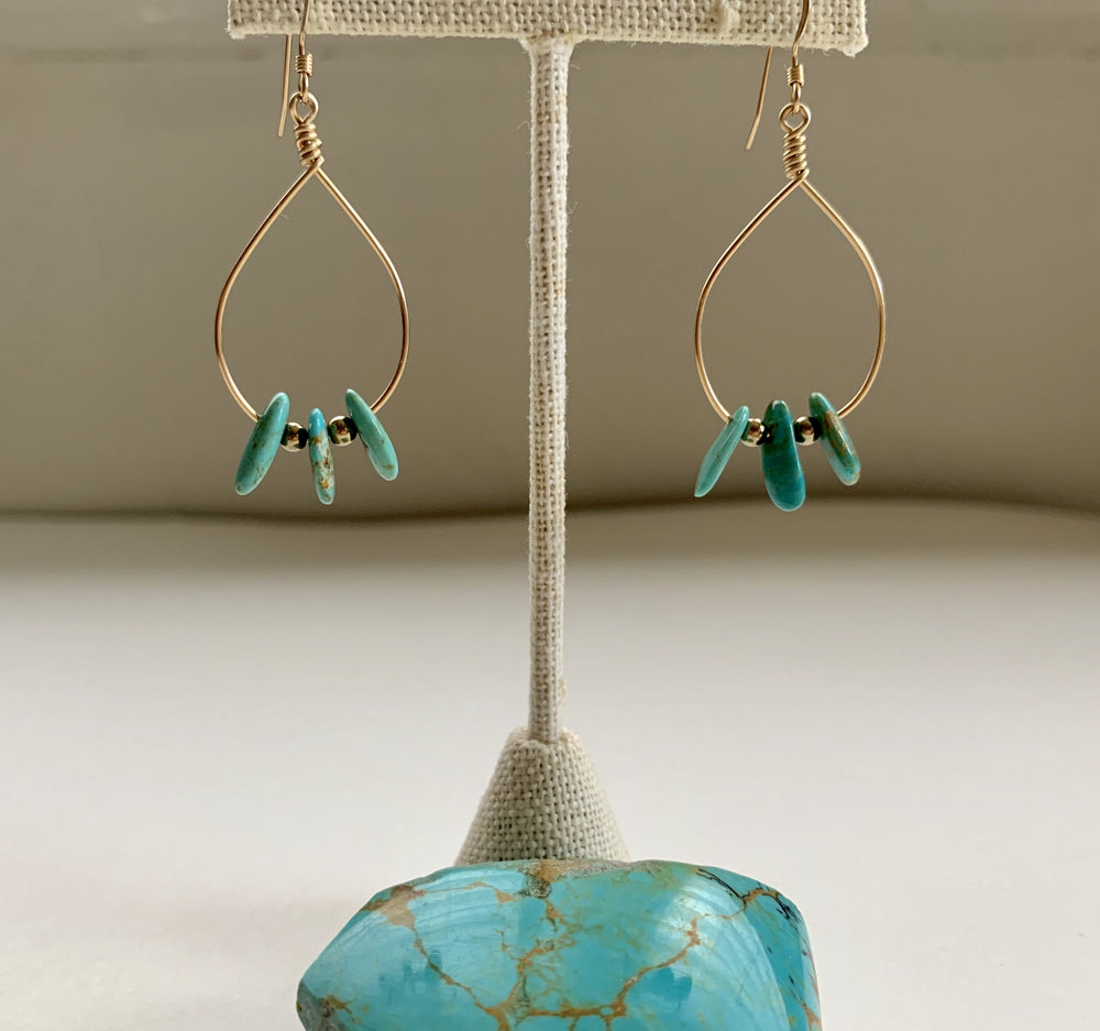 Turquoise Fan Earrings - Water Element Creations
