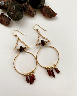 Load image into Gallery viewer, Mighty Aphrodite Earrings - Garnet - Water Element Creations