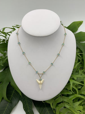 Shark Tooth Necklace with Peridot Accents - Water Element Creations