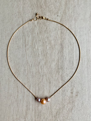 Floating Pearl Necklace - Pink & Peach Edison 3 pearl mixed