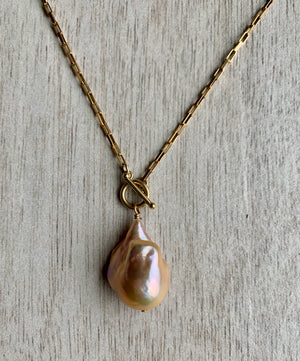 Edison Pearl Necklace - Baroque Pendant with Toggle Clasp